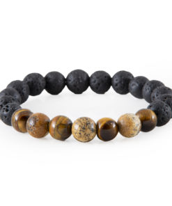 """Fosil Wood and Tiger's Eye """"Good luck"""" Bracelet"""